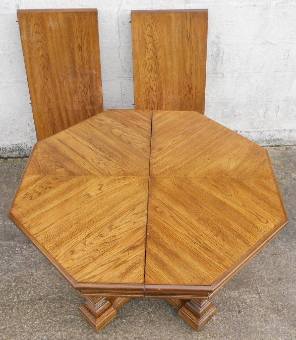Octagonal Light Oak Extending Pedestal Dining Table to  : octagonal light oak extending pedestal dining table to seat ten sold 1924 p from www.harrisonantiquefurniture.co.uk size 587 x 675 jpeg 156kB