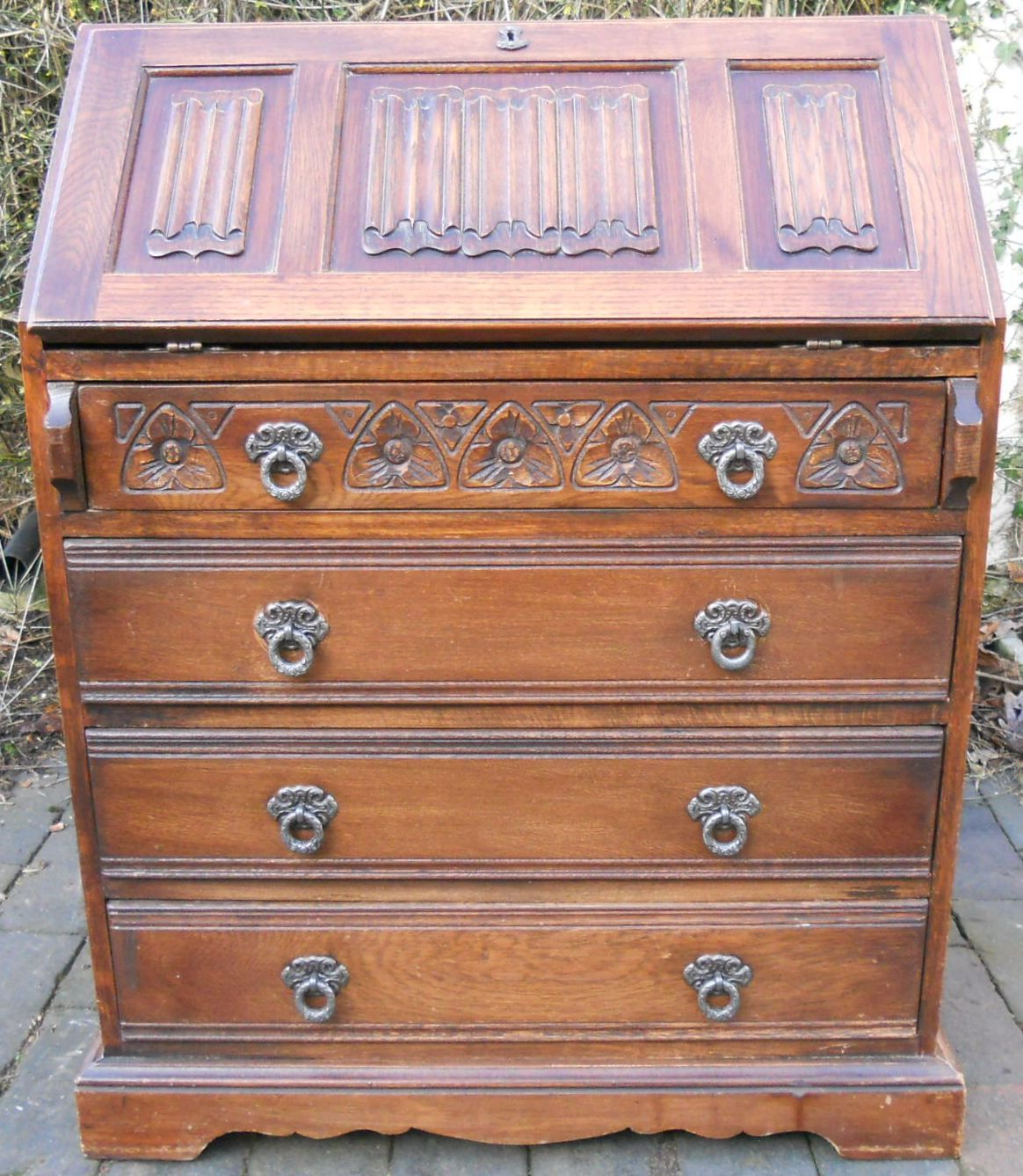old charm carved oak writing bureau. Black Bedroom Furniture Sets. Home Design Ideas