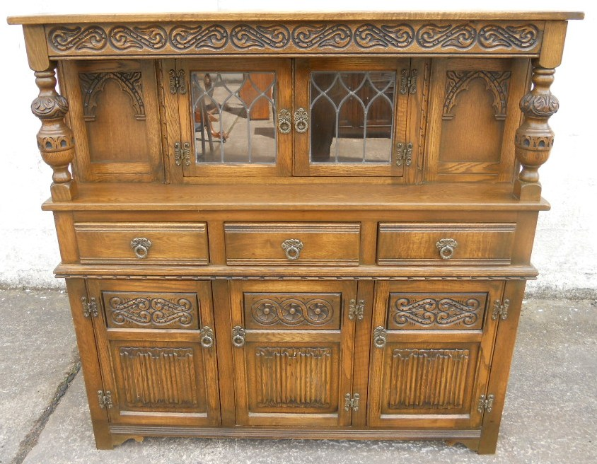 - Old Charm Oak Antique Jacobean Style Court Cupboard - SOLD
