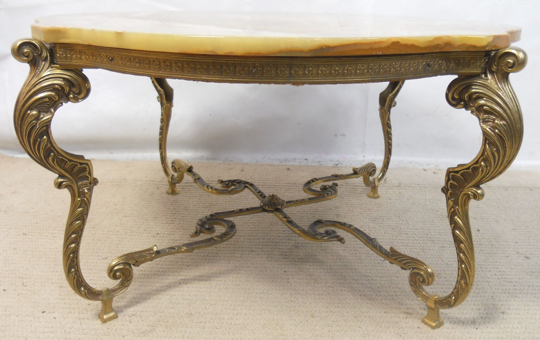 Onyx Marble Top Ornate Brass Base Coffee Table SOLD