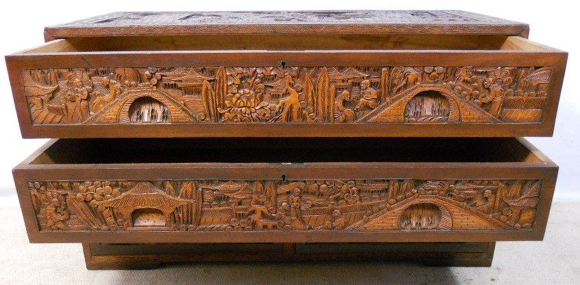 Oriental chinese carved camphor wood chest of drawers sold for Oriental wood carved furniture