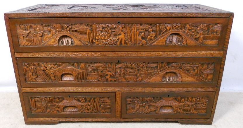 Oriental chinese carved camphor wood chest of drawers sold for Wood in chinese