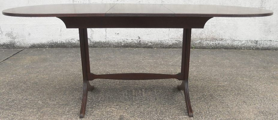 Oval Ended Mahogany Small Extending Pedestal Dining Table
