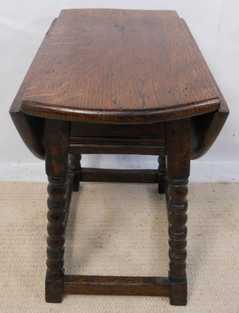 Oval Oak Small Dropleaf Coffee Table In Antique Style