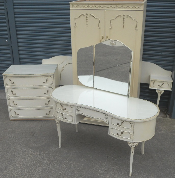 . Painted Louis Style Four Piece Bedroom Furniture Suite   SOLD