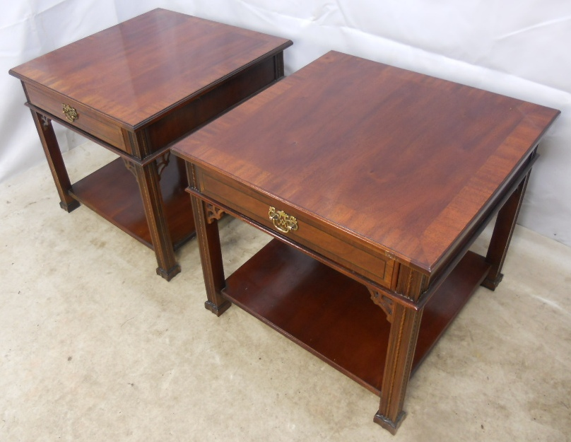 Pair Antique Chippendale Style Mahogany Large Square Coffee Tables Sold