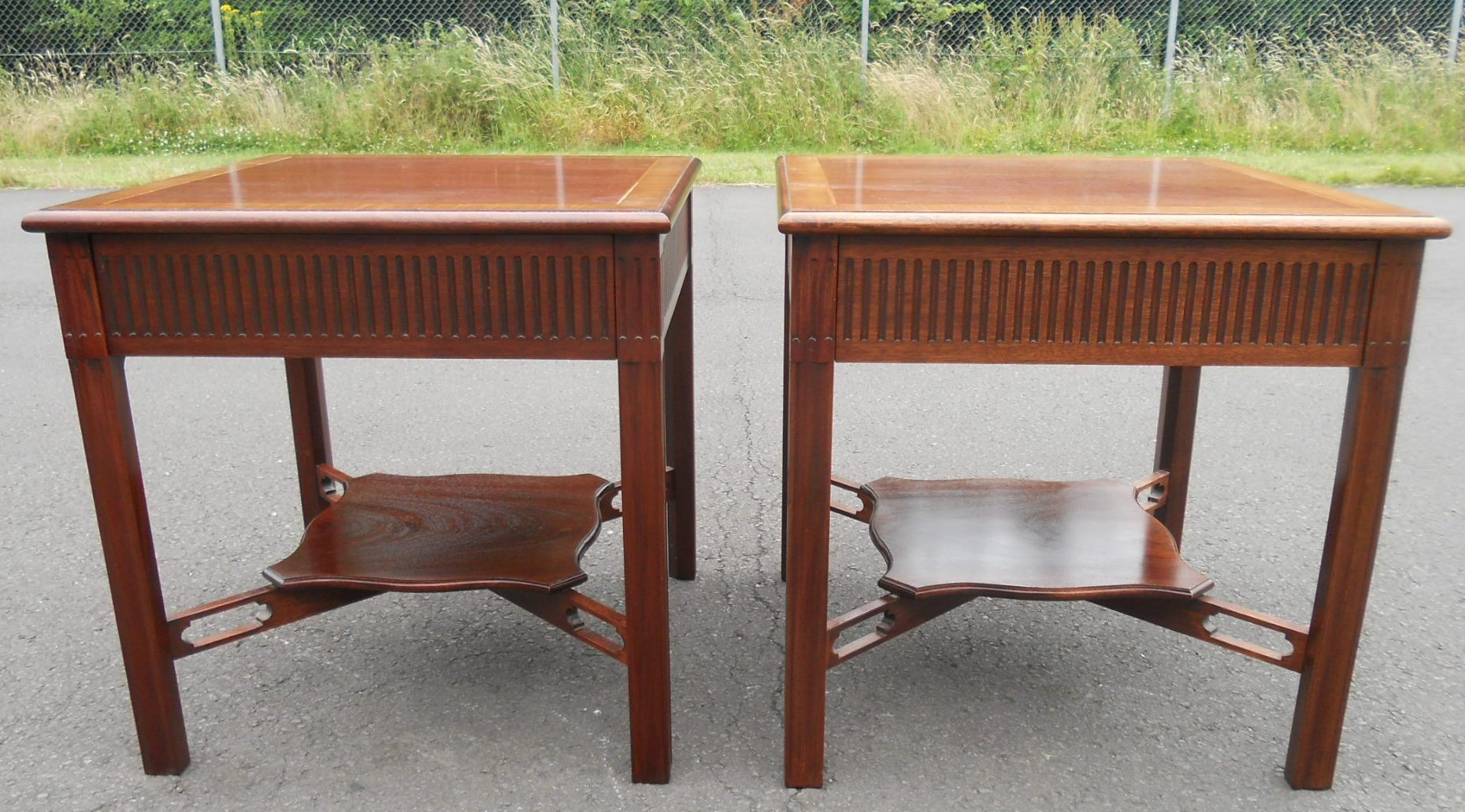 Pair chippendale style mahogany lamp tables geotapseo Gallery