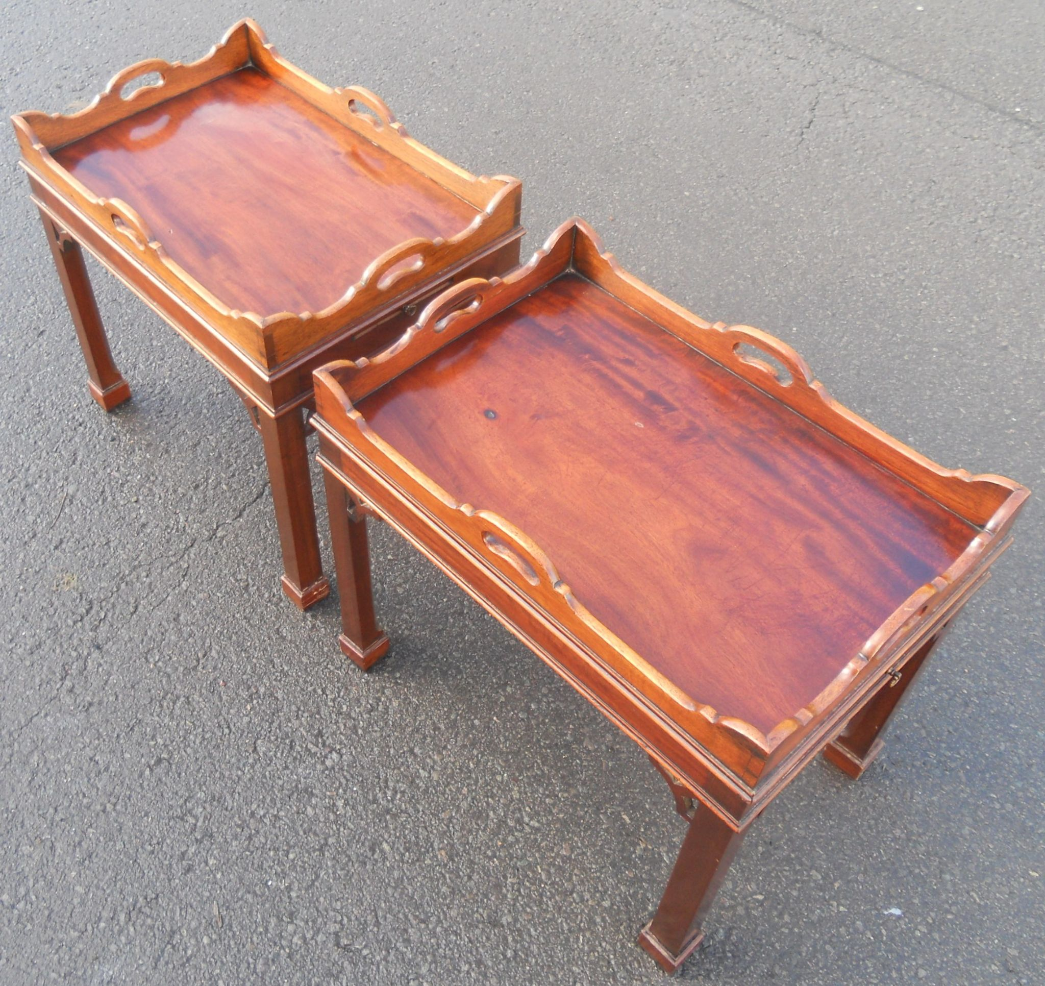 Pair mahogany tray top coffee tables for Trays on coffee tables
