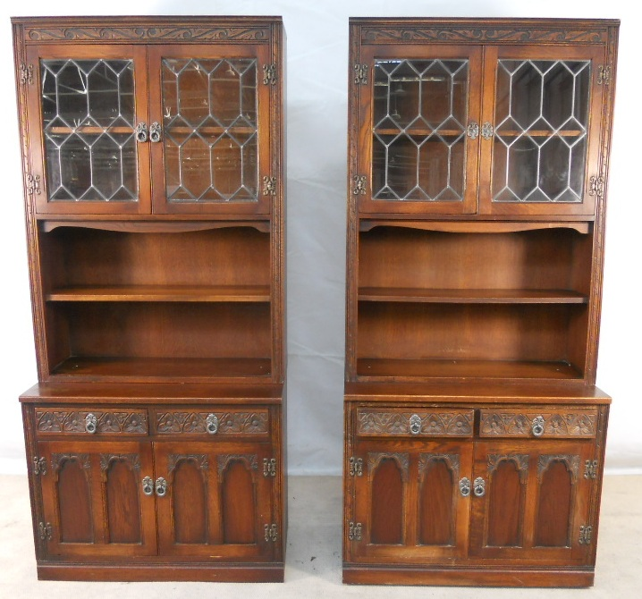 Old Charm Bookcase ~ Pair of large oak bookcase cabinets by old charm