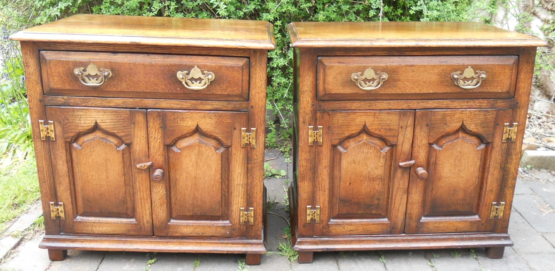 Pair Small Antique Style Oak Cupboards