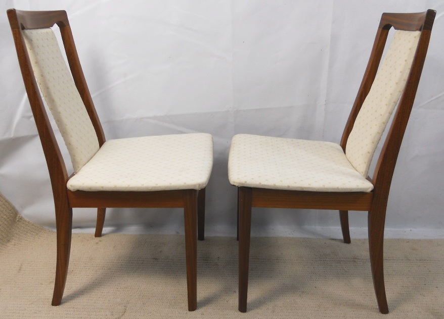 Pair teak upholstered dining chairs by g plan for G plan teak dining room chairs