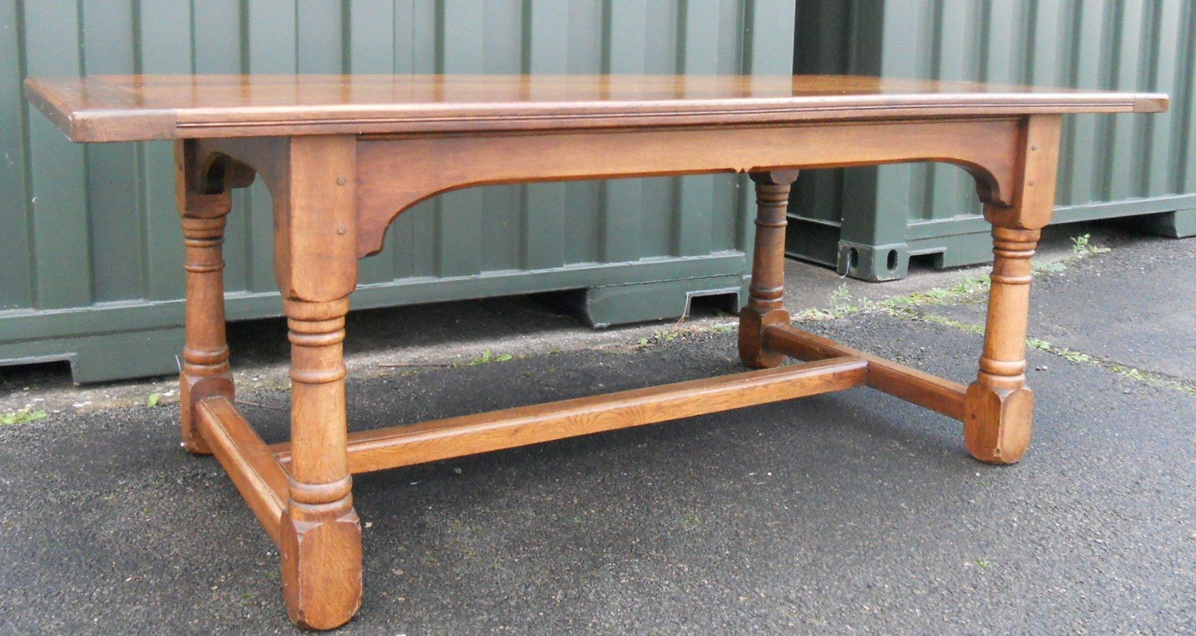 Craftsman Made Oak Refectory Dining Table To Seat 8 10 People. Full resolution‎  image, nominally Width 1679 Height 893 pixels, image with #975C34.