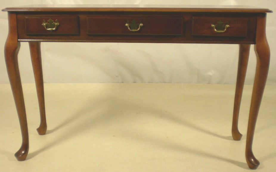 queen anne style mahogany long console table  sold pasp