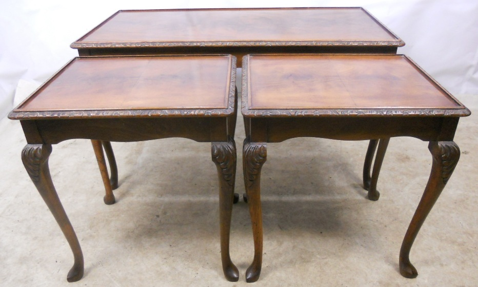 Queen Anne Style Nest Of Three Walnut Coffee Tables Sold