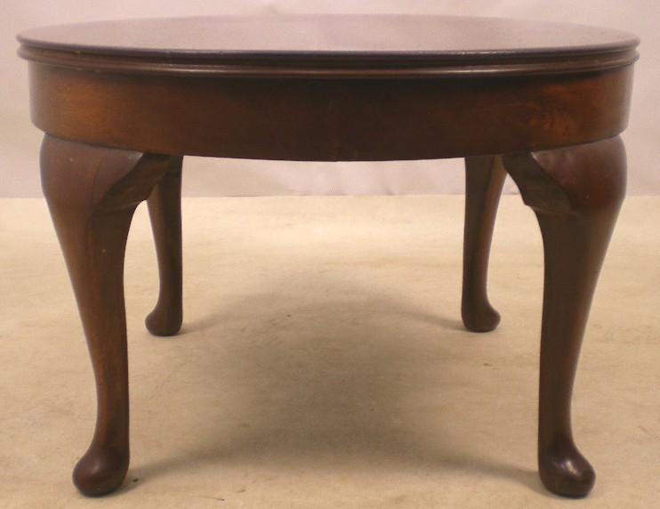 Queen Anne Style Round Mahogany Coffee Table Sold