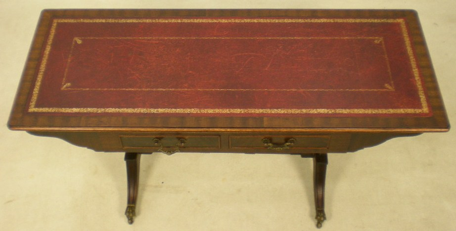 Regency Style Mahogany Leather Top Coffee Table