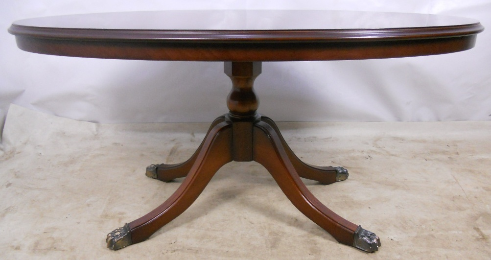 Regency Style Oval Pedestal Coffee Table By Strongbow Sold