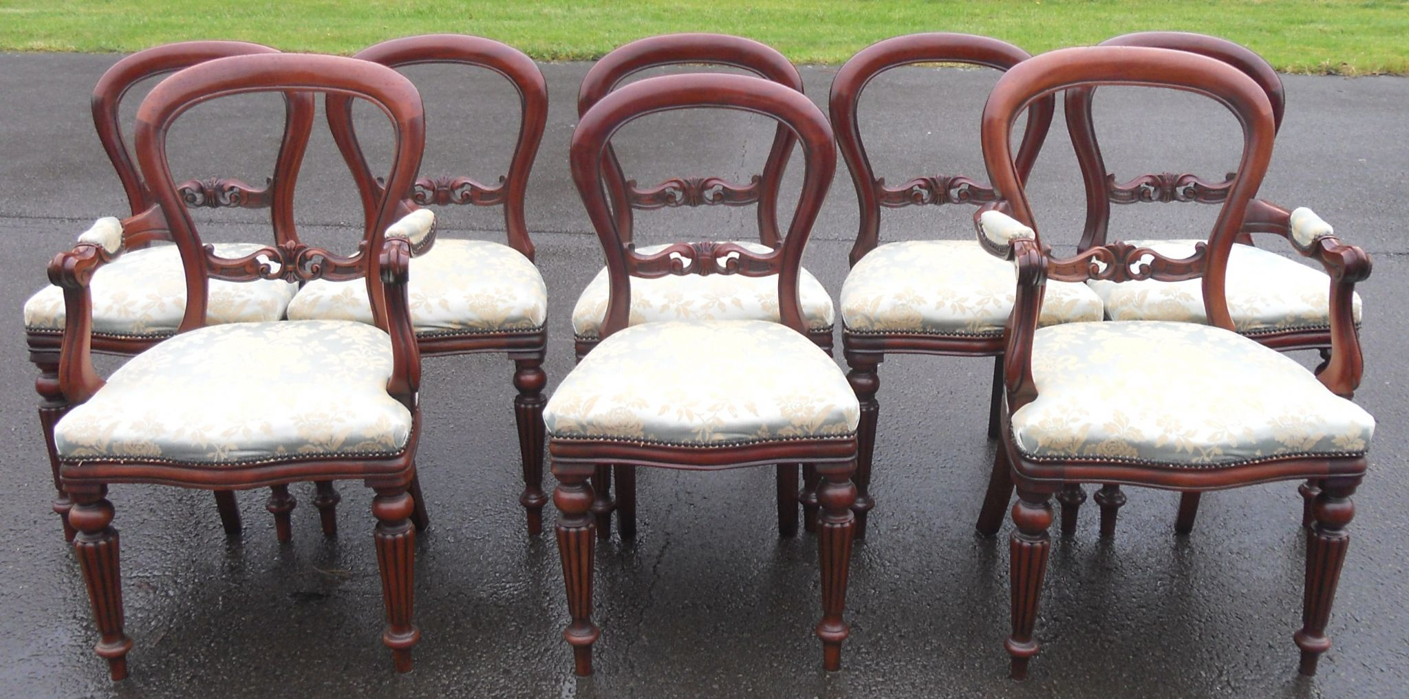 dining chairs two carver armchairs and six matching single chairs