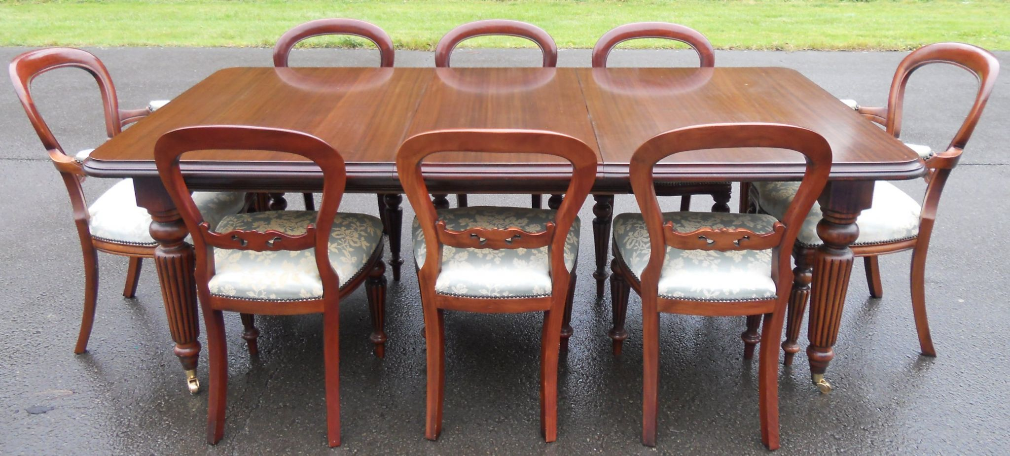 mahogany balloon back dining chairs both raised on fluted legs