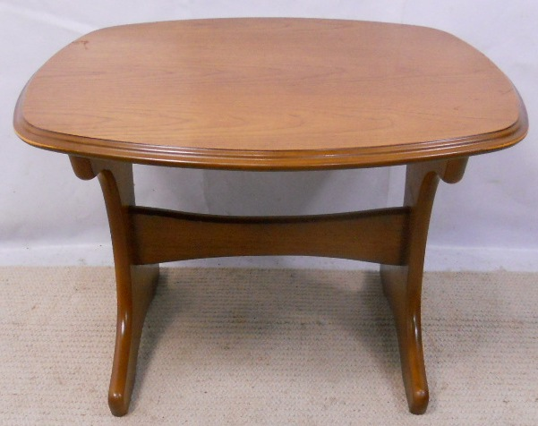 Retro Cherry Wood Shaped Top Coffee Table