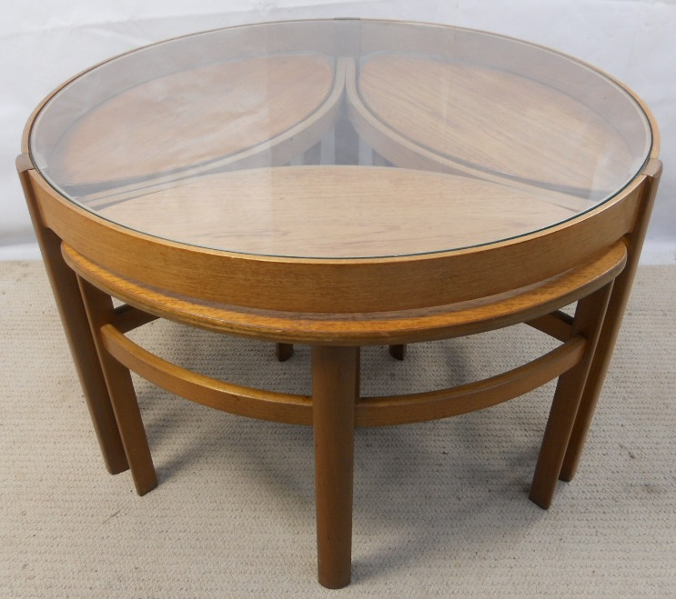 retro light teak circular glass top coffee table nest of