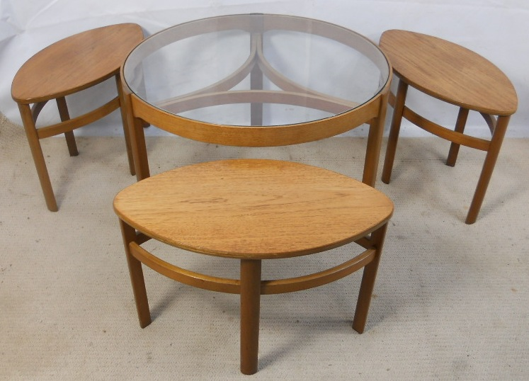 Retro Light Teak Circular Glass Top Coffee Table Nest of Tables by