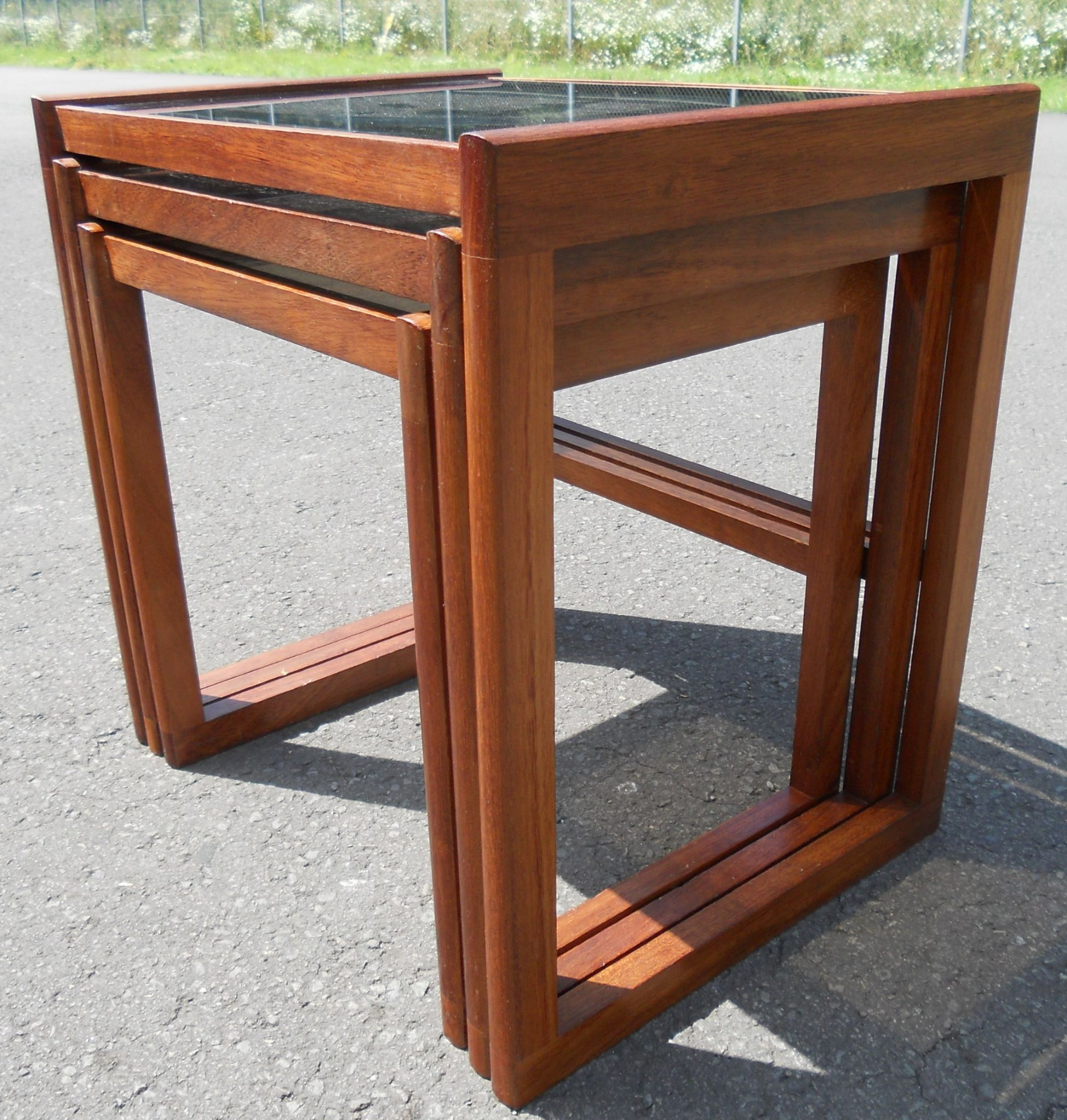 Retro light teak circular glass top coffee table nest of tables by - Retro Teak Glass Top Nest Of Tables