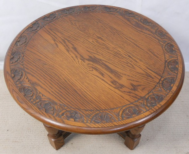Round Carved Oak Coffee Table By Jaycee Sold