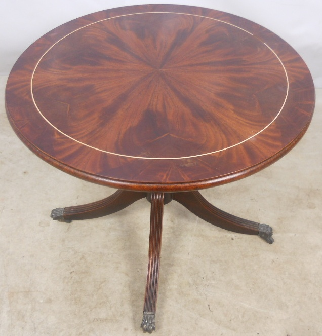 Round Flame Mahogany Pedestal Georgian Style Coffee Table Sold