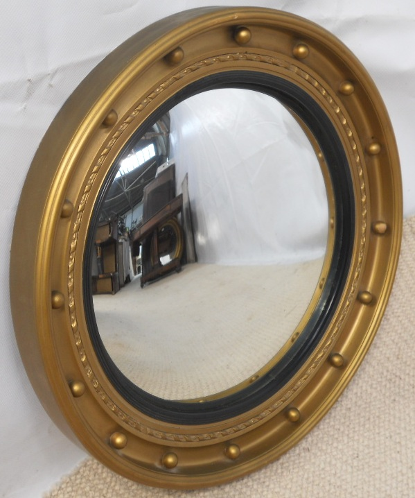 round gilt convex hanging wall mirror sold