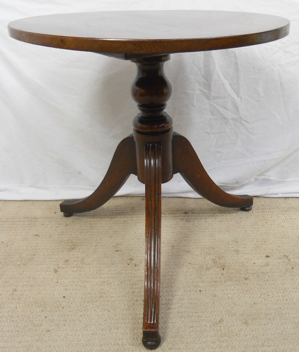 Round Mahogany Pedestal Tripod Coffee Table