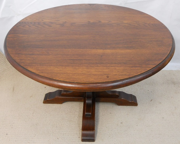 Round Solid Oak Pedestal Coffee Table Sold