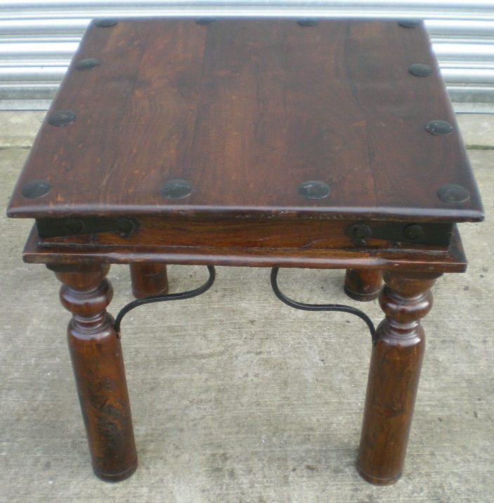 rustic style small stained beech coffee table with metal With small beech coffee table