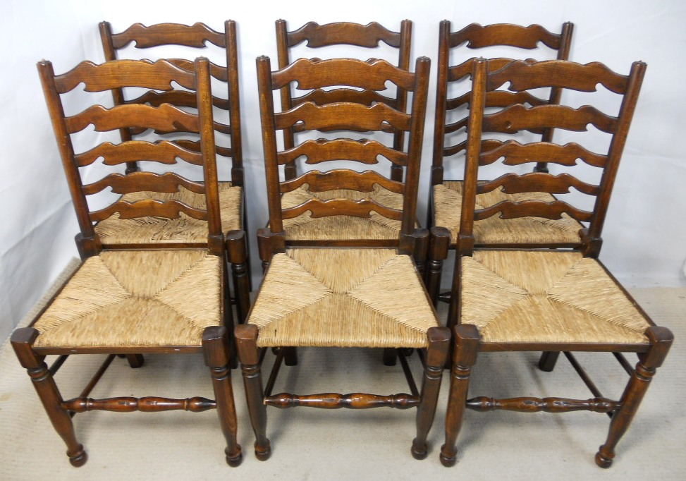 Set Of Eight Elm Ladderback Rush Seat Dining Chairs SOLD