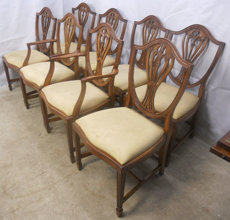 Set Of Eight Georgian Style Yew Dining Chairs SOLD