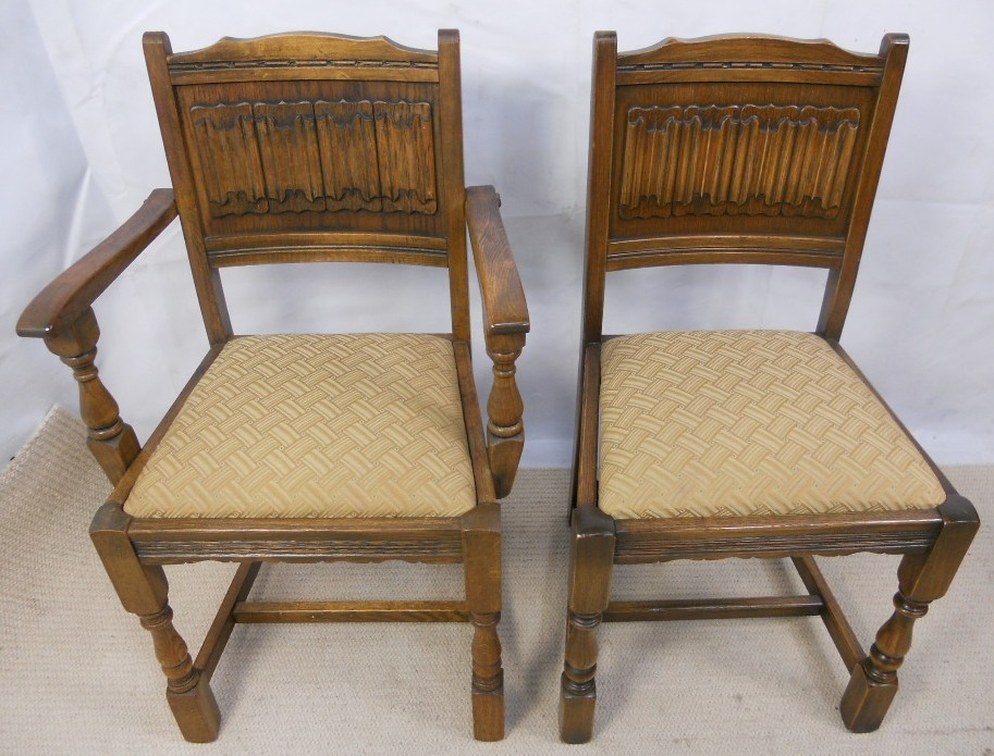 Set Of Eight Old Charm Oak Dining Chairs