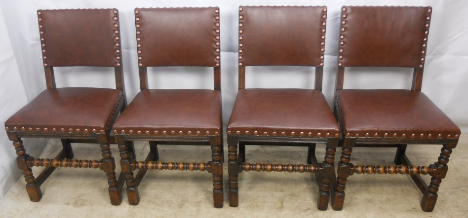 Set of four antique jacobean style studded back dining for Studded dining room chairs