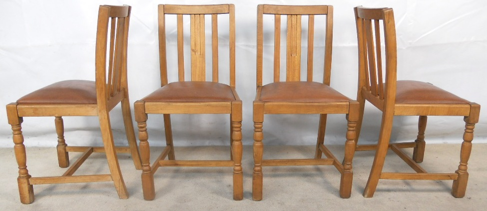 set of four beech wood kitchen dining chairs sold