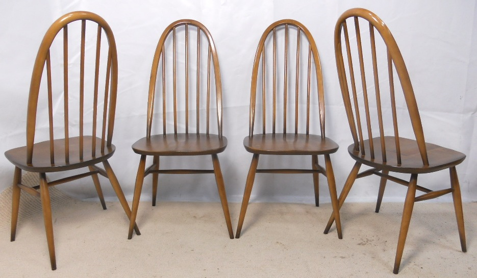 Set of 4 Ercol Antique Oak Old Colonial Style Dining Chairs in