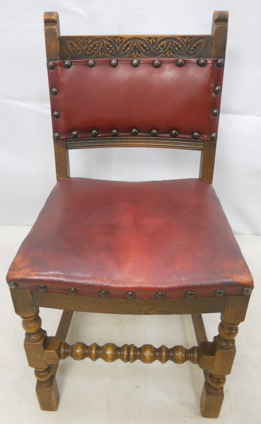 Set Of Four Leather Upholstered Dining Chairs By Old Charm SOLD