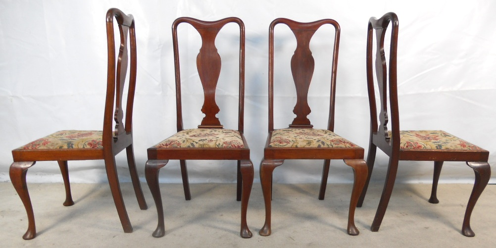 Set Of Four Queen Anne Style Mahogany Dining Chairs SOLD