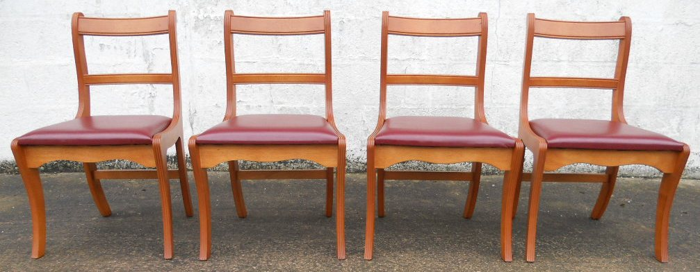 Set Of Four Regency Style Yew Dining Chairs