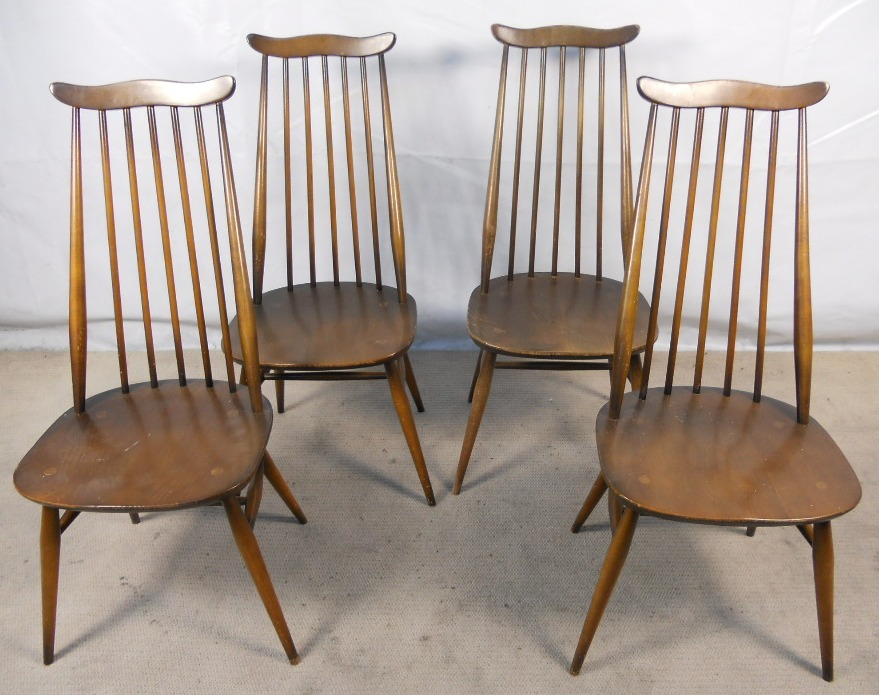 Set Of Four Tall Elm Dining Chairs By Ercol Sold