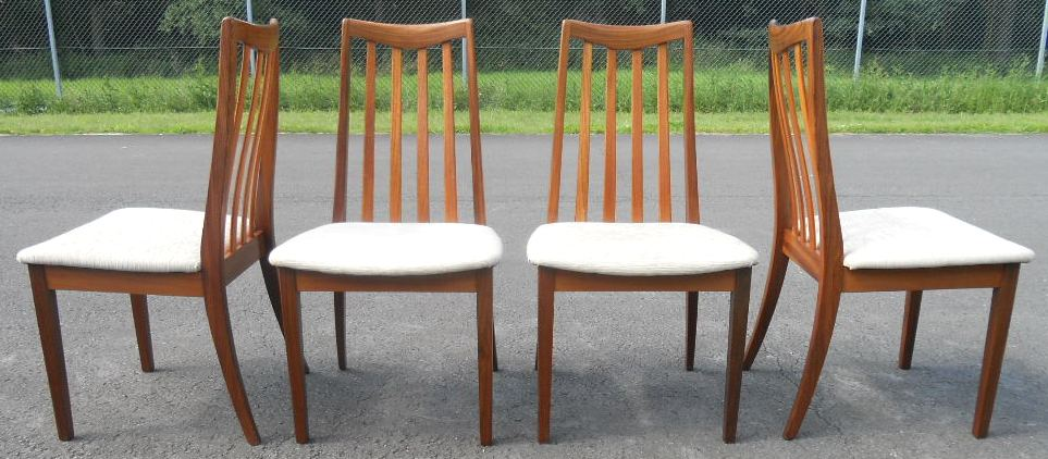 Set of four teak dining chairs by g plan sold for G plan teak dining room chairs