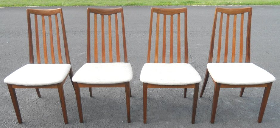 Set of four teak dining chairs by g plan sold for G plan teak dining room furniture