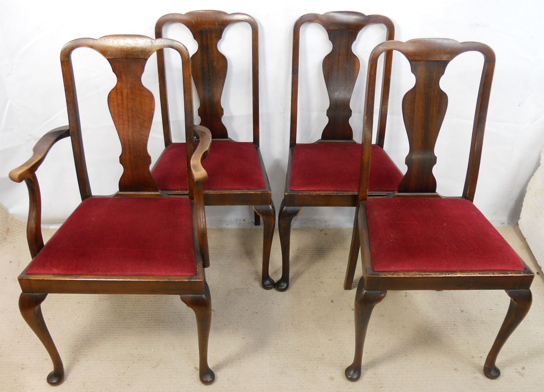Set of Four Walnut Highback Queen Anne Style Dining Chairs SOLD