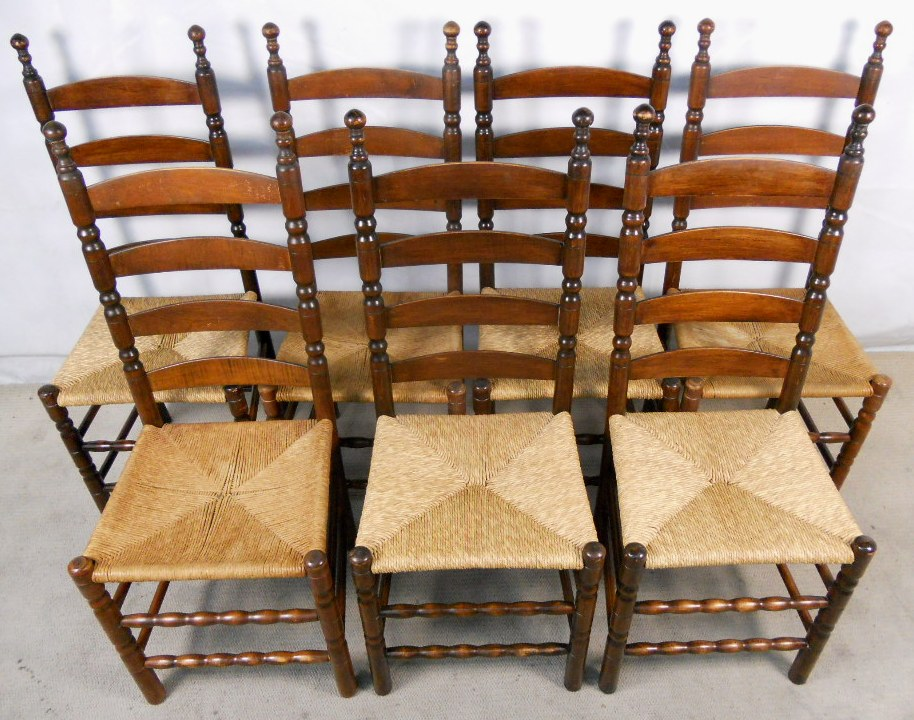 Set Of Seven Beech Ladderback Dining Chairs With Rush