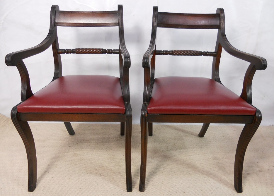 Set Of Six Antique Regency Style Mahogany Dining Chairs