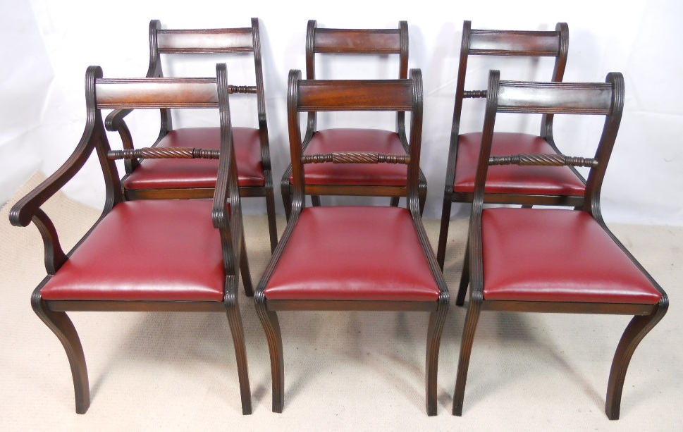 - Set Of Six Antique Regency Style Mahogany Dining Chairs