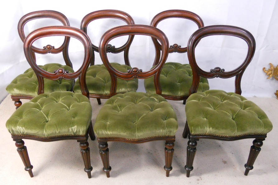 - Set Of Six Antique Style Mahogany Dining Chairs - SOLD